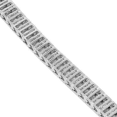 4 Carat Two Row Womens Diamond Tennis Bracelet 14K White Gold