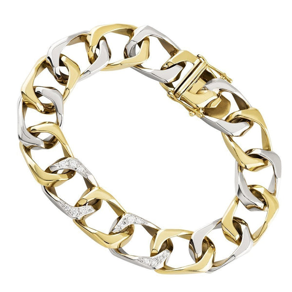 Diamond Square Curb Bracelet in 14k Two Tone Gold 12 mm 0.25 Ctw