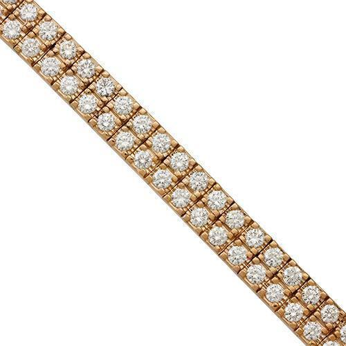 Diamond Two Row Tennis Bracelet in 14k Rose Gold 8 Inches