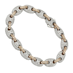 Puff Link Diamond Bracelet in Two Tone 14k Gold 9.5mm 10 Ctw