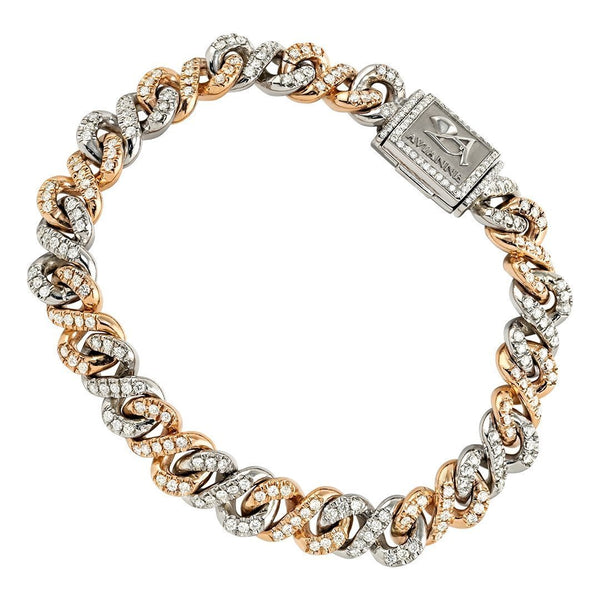 Two Tone Gold Diamond Infinity Link Bracelet 9 mm 3 Ctw