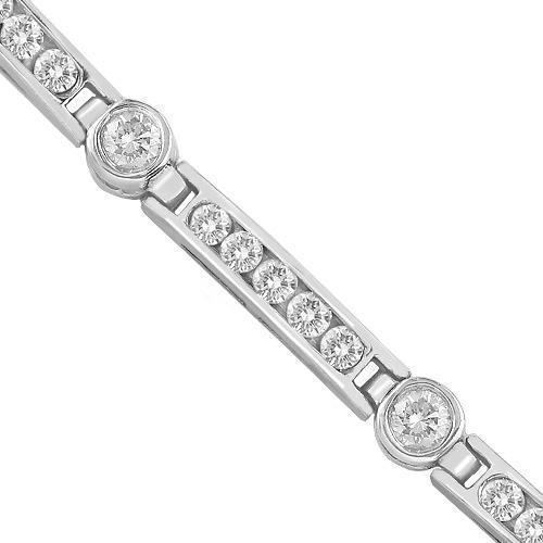 Womens VS Diamond Bracelet Channel & Bezel Set 2.50 ctw in 14k White Gold