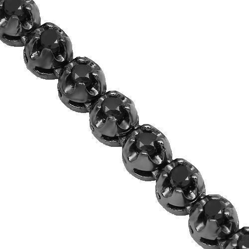 10K Gold Black Rhodium Plated Mens Black Diamond Tennis Chain 14.50 Ctw