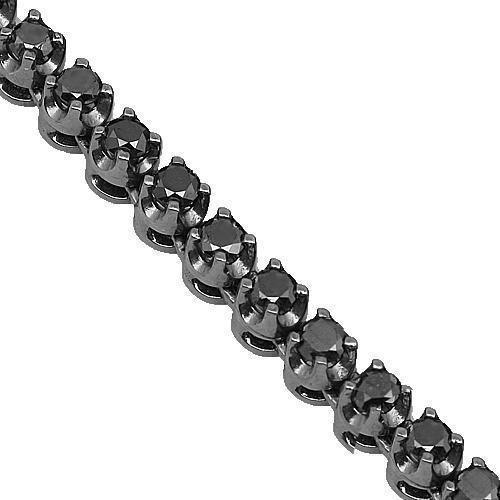 10K Gold Black Rhodium Plated Mens Diamond Tennis Chain Necklace with Black Diamonds 15.00 Ct