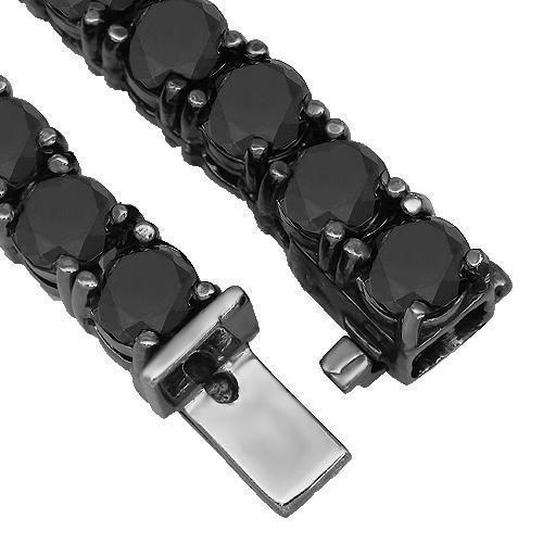 10K Gold Black Rhodium Plated Mens Diamond Tennis Chain with Black Diamonds 143.00 Ctw