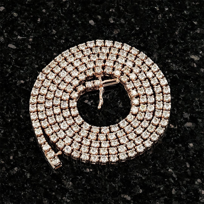 10k Rose Gold Tennis Chain 12.50 Ctw