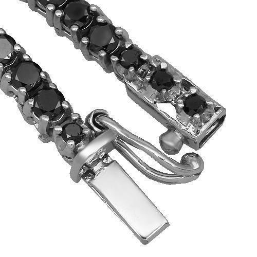 10K White Gold Mens Black Diamond Tennis Chain 13.00 Ctw