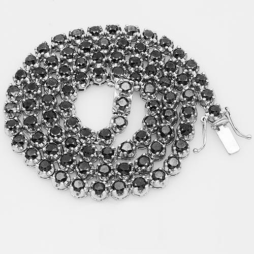 10K White Gold Mens Black Diamond Tennis Chain 35.00 Ctw
