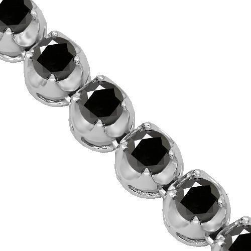 10K White Gold Mens Black Diamond Tennis Chain 82.50 Ctw