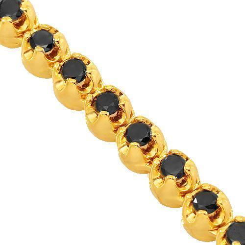 10K Yellow Gold Mens Black Diamond Tennis Chain 13.75 Ctw
