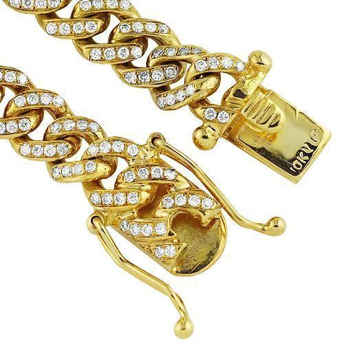 10K Yellow Gold Mens Custom Diamond Cuban Chain 15.00 Ctw