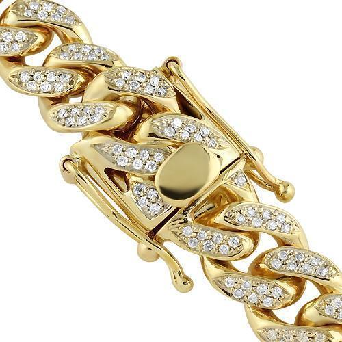 10K Yellow Gold Mens Diamond Cuban Link Custom Chain 22.46 Ctw