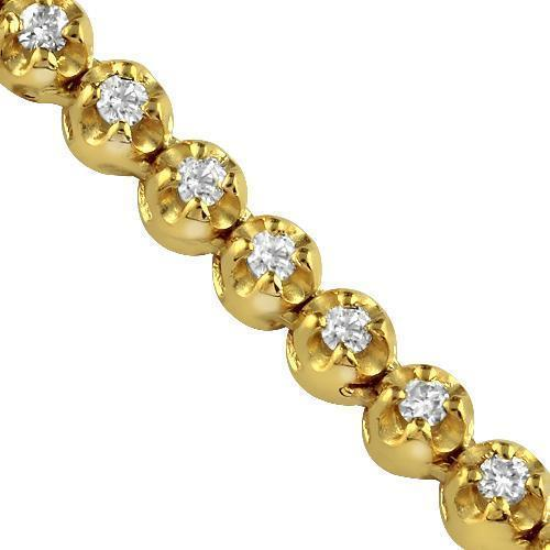 10K Yellow Solid Gold Mens Diamond Tennis Chain 7.00 Ctw