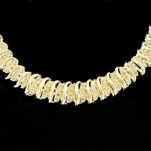10K Yellow Solid Gold Womens Diamond Necklace 4.00 Ctw