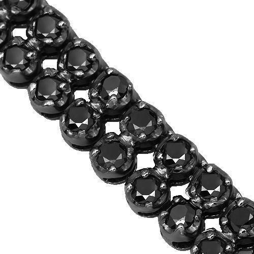 14K Gold Black Rhodium Plated Mens Black Diamond Double Row Tennis Chain 37.00 Ctw