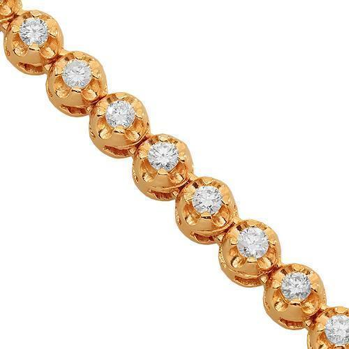 14K Rose Gold Mens Diamond Tennis Chain 8.00 Ctw