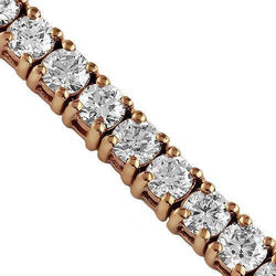 14K Rose Solid Gold Mens Diamond Tennis Chain 40.00 Ctw
