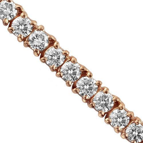 14K Rose Solid Gold Unisex  Diamond Tennis Chain 18.20 Ctw 3.5 mm
