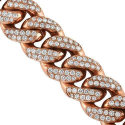 14K Solid Rose Gold Mens Diamond Cuban Chain 35.28 Ctw