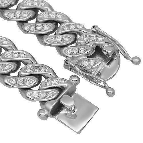 14K Solid White Gold Mens Diamond Cuban Chain 20.00 Ctw