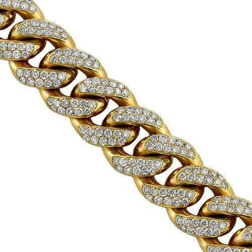 14K Solid Yellow Gold Mens Diamond Cuban Chain 31.37 Ctw