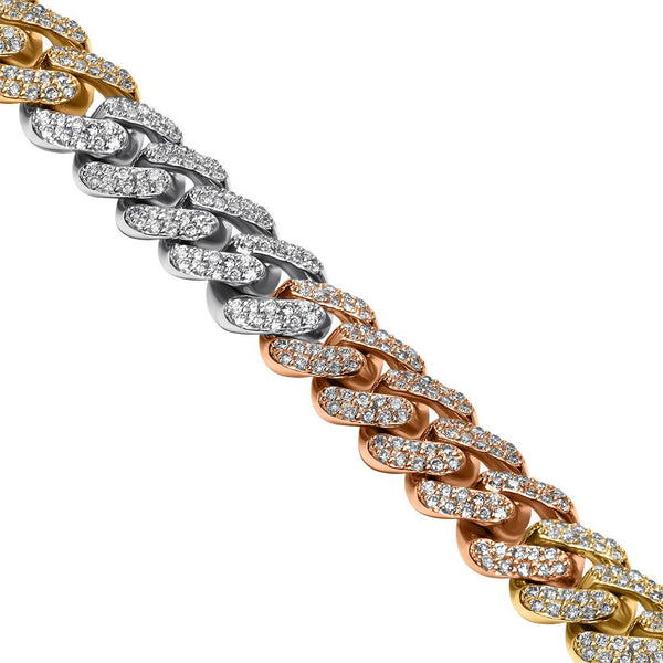 Rose, White, Yellow 14K Tri Tone Gold Diamond Cuban Chain 11.42 Ctw