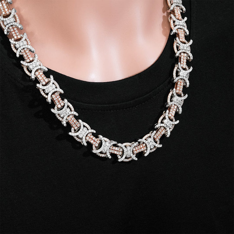 14K Two Tone Gold Diamond Double C Link Chain 39.18 Ctw 15 mm