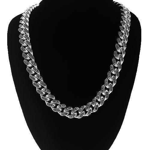 14K White Gold Mens Black Diamond Cuban Chain 9.00 Ctw