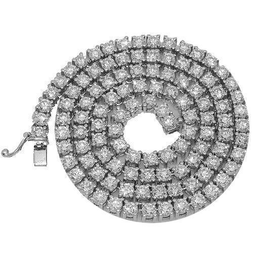 14K White Gold Mens Clarity Enhanced Diamond Tennis Chain 37.00 Ctw