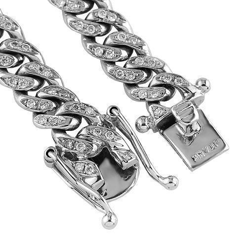 14K White Gold Mens Custom Diamond Cuban Chain 8.50 Ctw