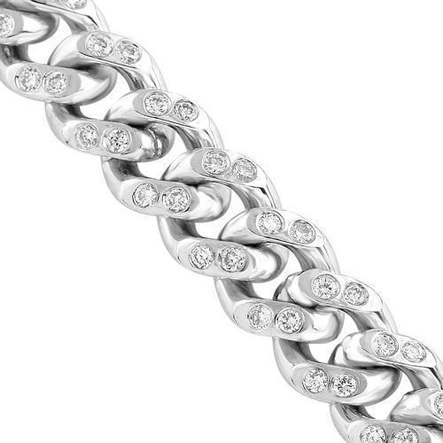 14K White Gold Mens Diamond Cuban Chain 17.00 Ctw