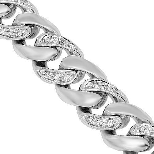 14K White Gold Mens Diamond Cuban Chain 4.00 Ctw