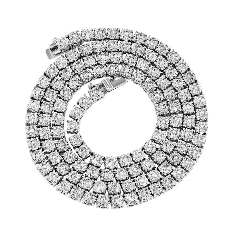 14k White Gold Tennis Chain 20 Inches 4 mm 25.5 Ctw