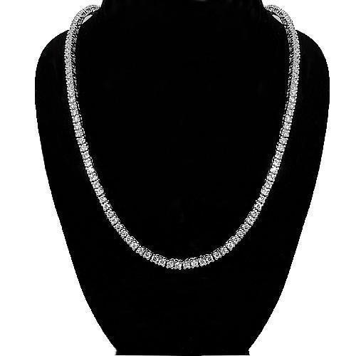 14K White Solid Gold Mens Diamond Tennis Necklace 60.00 Ctw