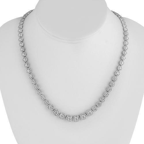 14K White Solid Gold Womens Diamond Necklace 13.90 Ctw