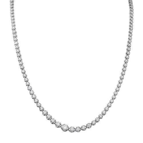 14K White Solid Gold Womens Diamond Necklace 2.79 Ctw