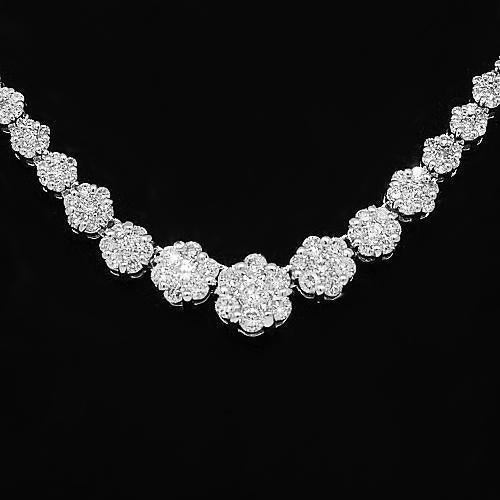 14K White Solid Gold Womens Diamond Necklace 3.50 Ctw