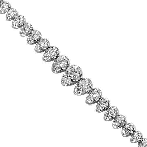 14K White Solid Gold Womens Diamond Necklace 4.00 Ctw