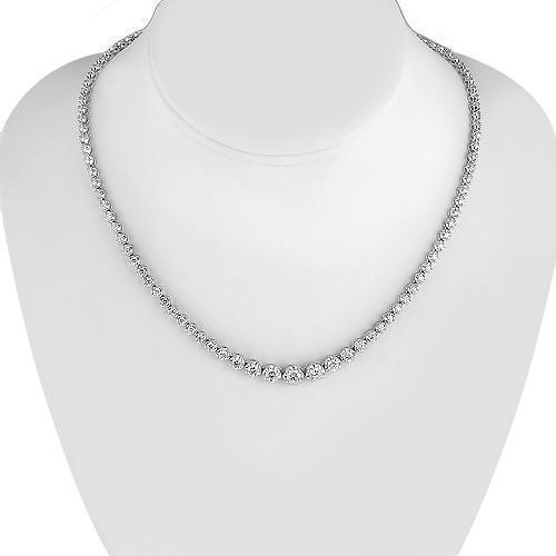 14K White Solid Gold Womens Diamond Necklace 6.25 Ctw