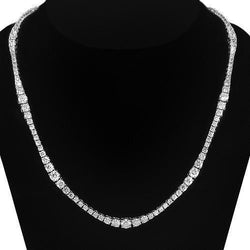 14K White Solid Gold Womens Diamond Necklace 8.00 Ctw