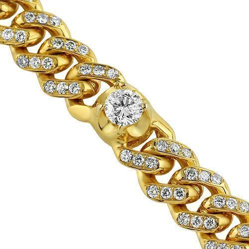 14K Yellow Gold Mens Custom Made Cuban Chain Set With Round Diamonds 29.33 Ctw