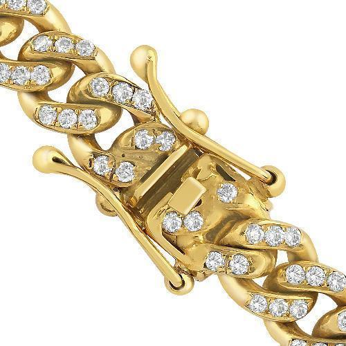 14K Yellow Gold Mens Diamond Cuban Chain 15.00 Ctw 10 mm