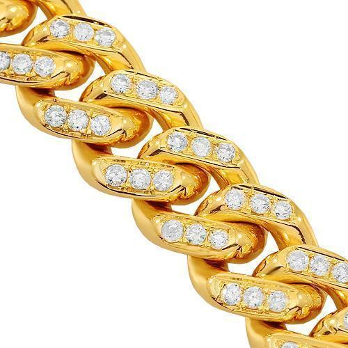 14K Yellow Gold Mens Diamond Cuban Chain 15.50 Ctw