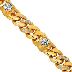 14K Yellow Gold Mens Diamond Cuban Chain 20.33 Ctw