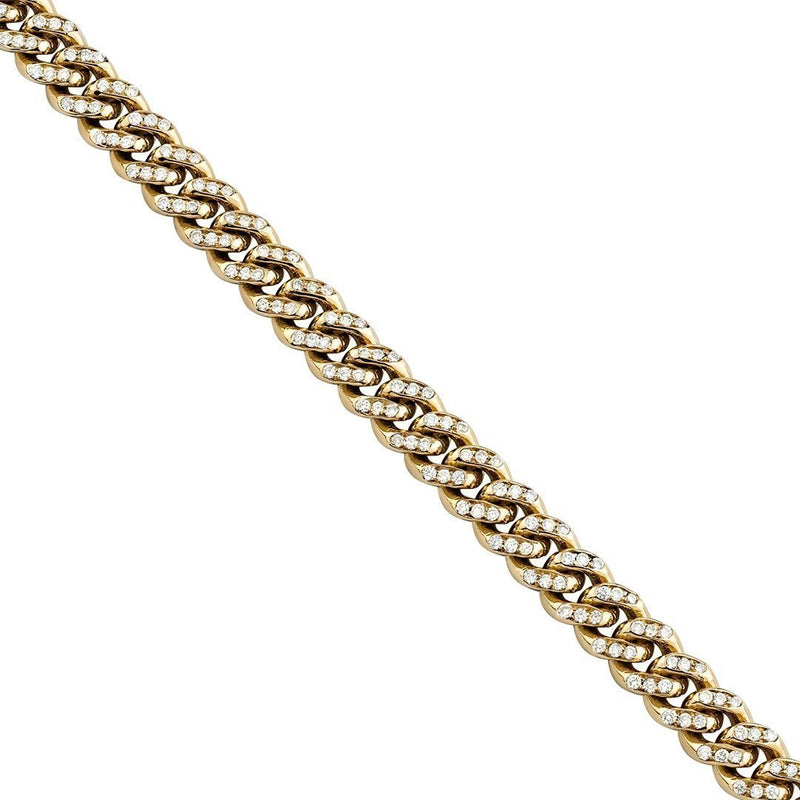 14K Yellow Gold Mens Diamond Cuban Chain 23.5 Inches 8.5 mm 6 Ctw
