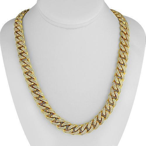 14K Yellow Gold Mens Diamond Cuban Chain 32.26 Ctw