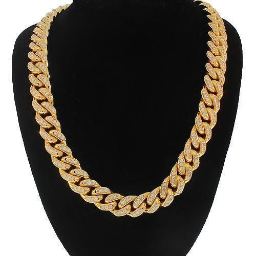 14K Yellow Gold Mens Diamond Cuban Chain 36.80 Ctw