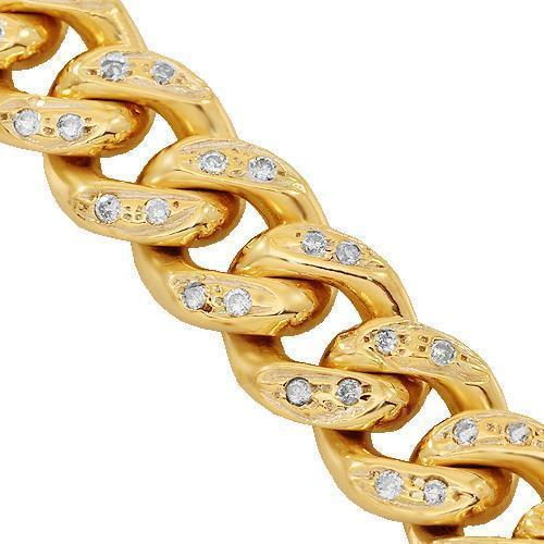 14K Yellow Gold Mens Diamond Cuban Chain 7.50 Ctw