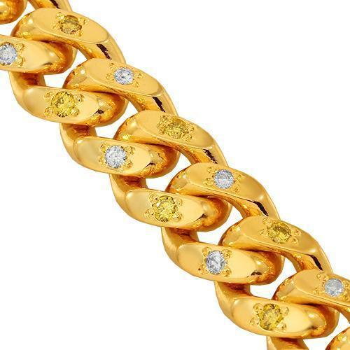 14K Yellow Gold Mens Diamond Cuban Chain With Yellow Diamonds 7.00 Ctw