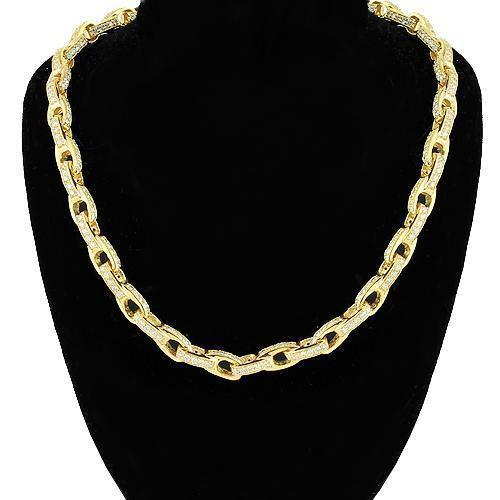 14K Yellow Gold Mens Diamond Custom Made Chain 22.00 Ctw